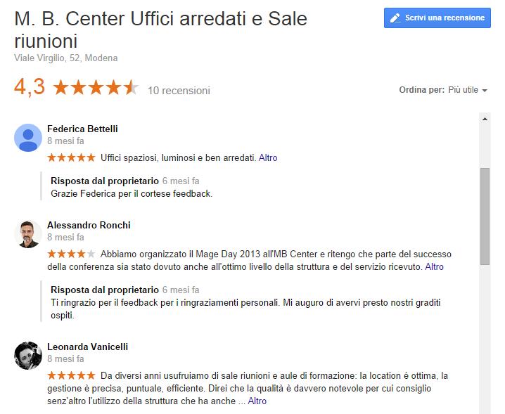 My Business Google recensioni
